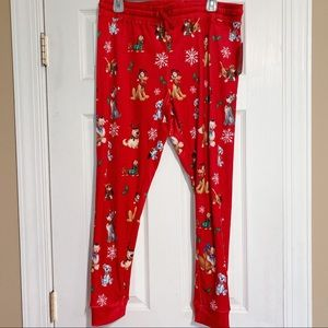 Disney cute dogs holiday pajama pants red size L/G